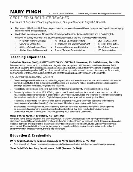 Resume For Substitute Teacher Awesome Sample Teacher Resumes Substitute Teacher Resume Sample Teacher Teacher Resume Teacher Resume Examples Jobs For Teachers