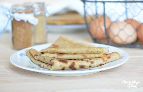 Crêpes à la farine d'épeautre complète, lait d'amande et sucre de coco, parfumées à la vanille et au rhum. Sans lactose, sans blé et sans mauvais sucres.