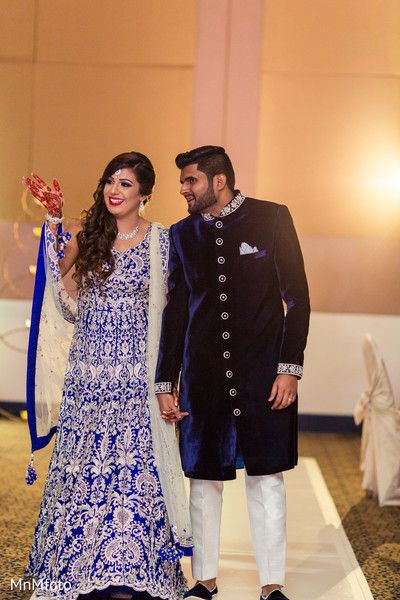 Indian Bride And Groom In Matching Royal Blue Outfits Http Www