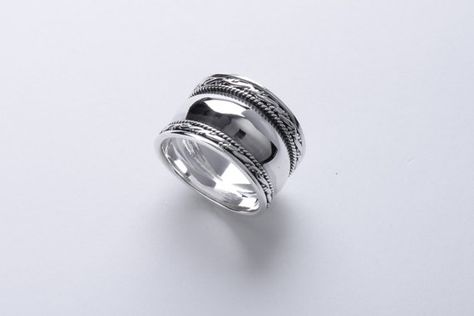Sterling Silver Balinese style cigar band oxidised ring  Price: US$35.00 + International registered mail shipping $10. Additional $5 will be charged
