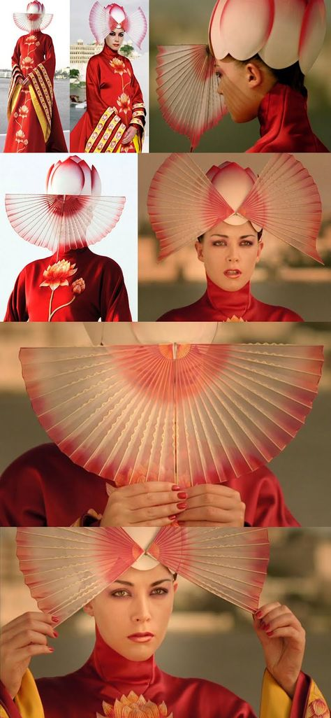 The Fashion Houses of New Beijing are already competing to win the coveted position of Stylists to the Future Empress. Look as this gorgeous ensemble! from Ishioka House they held the Imperial Seal while Emperor Kaito's Mother the late Empress was alive. (Eiko Ishioka for The Fall ... Chinese-inspired dress with a very beautiful fan headdress)