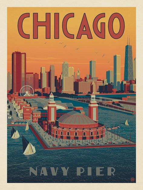 Anderson Design Group – American Travel – Chicago: Navy Pier Aerial View The Globe / Honor. Get an inside look at what life is like inside America's Navy Chicago Poster, Chicago Art, Chicago Travel, Chicago Illinois, Party Vintage, Navy Pier Chicago, Usa Roadtrip, Vintage Travel Posters, Vintage Travel Decor
