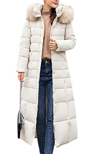 Bywx Women Casual Hooded Maxi Down Coat Long Puffer Jacket Outwear Creamy White Us L Best Winter Coats Usa Down Puffer Coat Puffer Coat Jackets