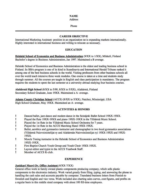 Sample Resume International Marketing Assistant - http - choreographers sample resume