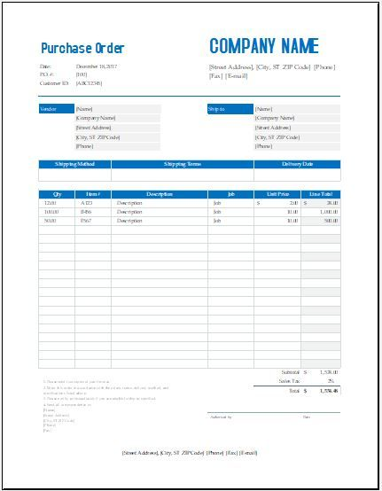 Bulk Wholesale Purchase Order Purchase Order Template Purchase