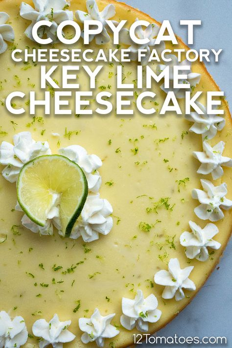 This incredible cheesecake is easier to make than it looks! Key Lime Pie Cheesecake, Cheesecake Factory Copycat, Cinnamon Cheesecake, Cheesecake Recipes, Key Lime Pie Recipe Cream Cheese, Best Key Lime Pie, Key Lime Tart, Key Lime Dip, Pie Dessert