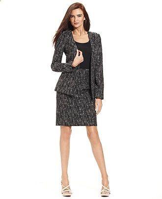 Women's Suits & Suit Separates - #womenssuits&suitseparates - Calvin Klein  Open-Front Jacquard Ja… | Pencil skirt casual, Suits for women, Trendy  clothes for women