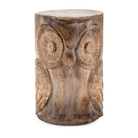 Hand Carved Natural Wood Finish Owl Stool Wooden Owl Wood