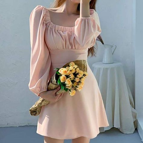 Square Collar Puff Sleeve Long Spring Korean A-Line Mini Dress - Pink / One Size