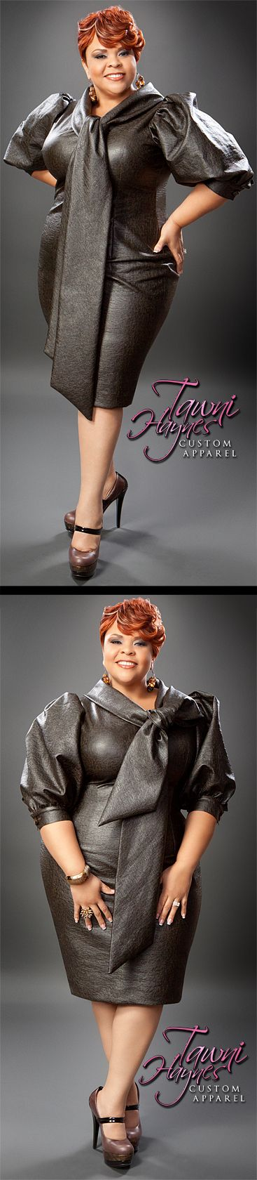Actress & Recording Artist Tamela Mann in a Tawni Haynes Leather Bow Pencil Dress and Tawni Haynes Edition OMG Custom Accessories