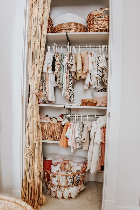 Nursery Closet Organization in Boho Nursery - Boho Baby Nursery Open Door Closet Source by projectnursery - Baby Bedroom, Baby Room Decor, Ikea Baby Room, Ikea Girls Room, Ikea Baby Nursery, Baby Nursery Closet, Baby Room Diy, Baby Nursery Neutral, Wall Decor
