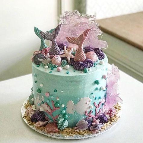 Mermaid dripping cake -  #cake #dripping #mermaid
