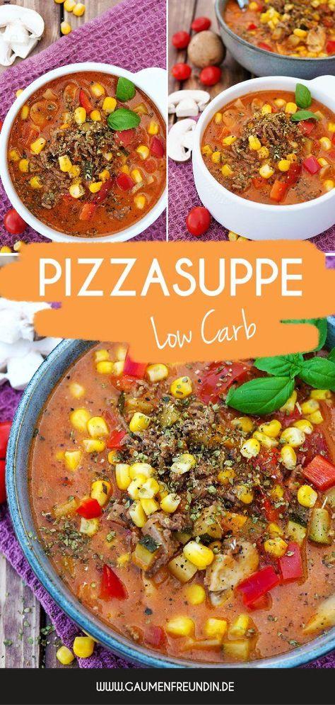 Schnelle und leckere Pizzasuppe mit Hackfleisch, Zucchini, Paprika, Champignons, Tomaten, Mais und Zwiebeln - perfekt für dein Meal Prep und das schnelle Familienessen - Die Pizzasuppe ist ein beliebtes One Pot Rezept für Kinder- Gaumenfreundin Foodblog