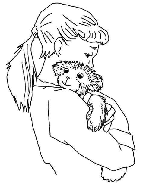 Corduroy Coloring Sheet Lisa Hugging Corduroy The Bear Coloring