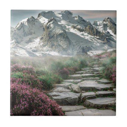 mountain landscape alaska ceramic tile -nature diy customize sprecial design