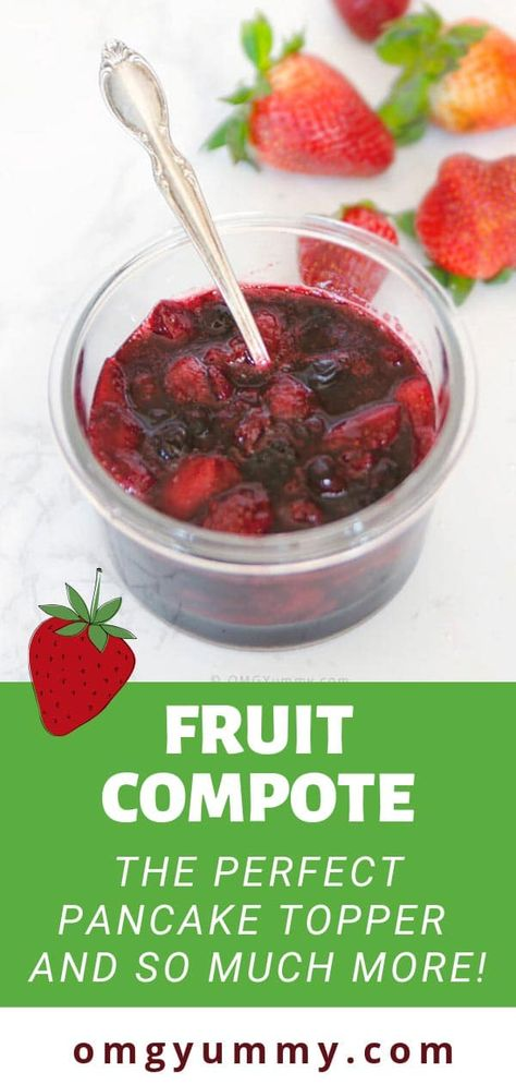 Fruit compote is the best kept secret to add a touch of homemade to any meal. Easy to pull together whether you are using up almost spoiled fruit, frozen fruit, or just picked from the farm. Top your pancakes, waffles, french toast, yogurt or serve with whipped cream for dessert. #freshfruitcompote #fruitcompote #fruittopping #pancakes #breakfast #brunch #dessert #fruitdesserts #berryseason #strawberries #blueberries
