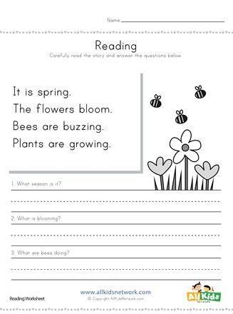 Spring Reading Comprehension Worksheet All Kids Network Reading Worksheets Comprehension Worksheets Reading Comprehension Worksheets Spring comprehension worksheets