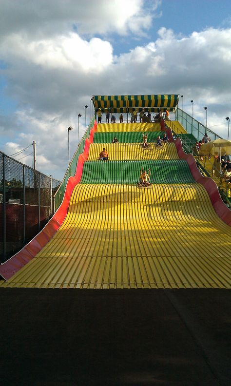 The giant slide. Not grew up exactly but there was one of these in Evansvile, IN set up all the time. When we were stressed from exams, we would go up and down the slide a few times.