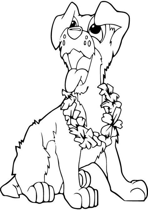 Hawaii Dog Free Coloring Page