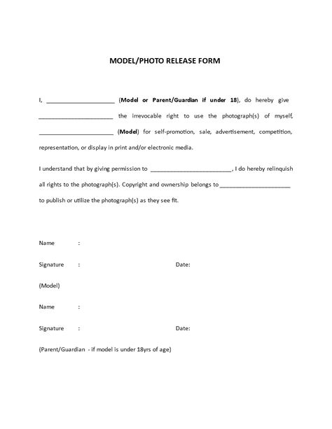 free photographer release form Photo Model Release Form - DOC - video release forms