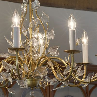 Hand Wrought Iron Chandelier With Murano Glass Leaves And Antiqued