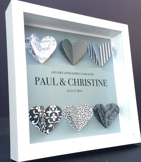 Personalized Wedding, Engagement, Anniversary, Bridal Shower Black and White 3D Paper Hearts Origami Shadowbox Frame Custom Gift by paintandpapercraft on Etsy