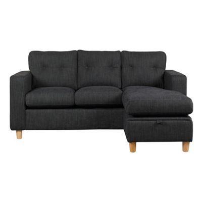 Debenhams Charcoal 'Simmone' chaise corner sofa with sofa bed and light wood feet- at Debenhams.com