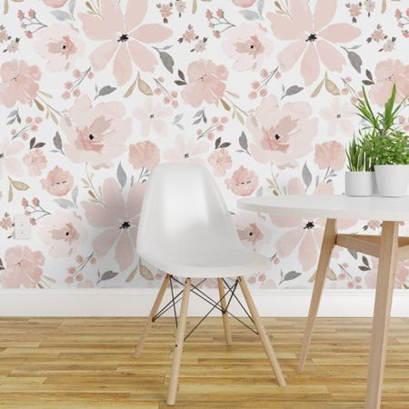 Peel And Stick Removable Wallpaper Flora Blush Watercolor Floral Spring Bedding Walmart Com Girls Room Wallpaper Floral Wallpaper Wallpaper Panels