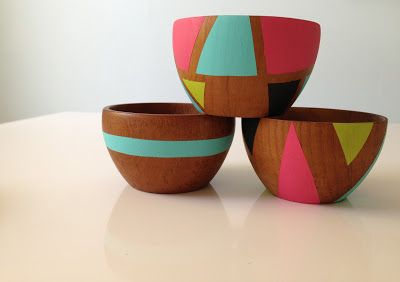 Easy to find, outdated wooden salad bowls updated with paint