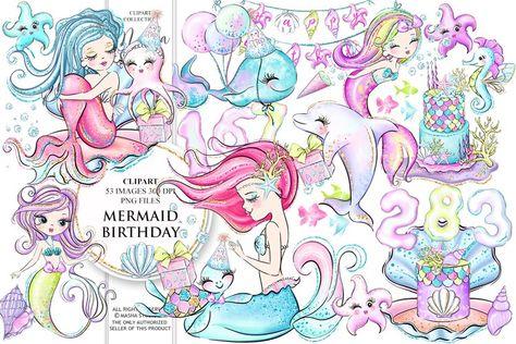 MERMAID BIRTHDAY clipart (217252)   Illustrations   Design Bundles