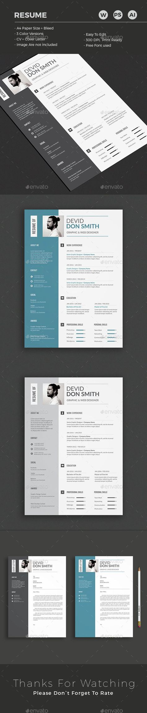 30 Free & Beautiful Resume Templates To Download | Template, Behance ...