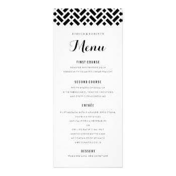 Fully editable black and white formal dinner menu with woven - dinner party menu template