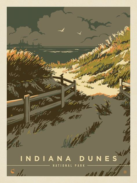 Indiana Dunes National Park WPA-Style Vintage-Style Travel Poster 12x18