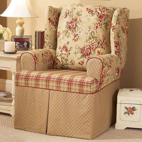 sure fit lexington floral t cushion wing chair slipcover products rh pinterest com au