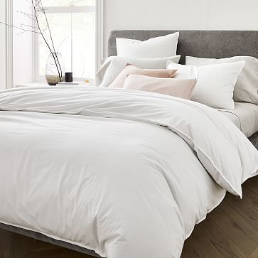Organic Washed Cotton Percale Duvet Cover Shams White Duvet Covers White Duvet Duvet Sets
