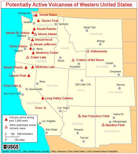 Map Of Volcanoes In West Usa Volcanoes Volcanoes Pinterest - Active volcanoes in the us map