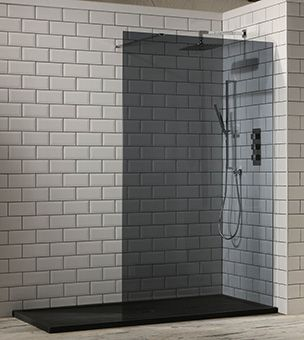 Aquaglass 10mm Tinted Black Glass Walk In Shower Shower Tray Shower Screen Shower Tray Ideas