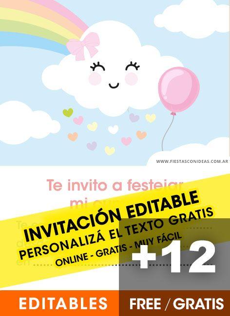 12 Invitaciones De Baby Shower Nubes Arcoiris Y Coraz