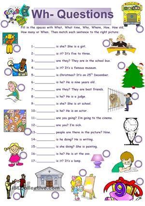 Wh Questions Wh Questions Exercises Wh Questions English Grammar Worksheets Wh questions for preschoolers worksheets