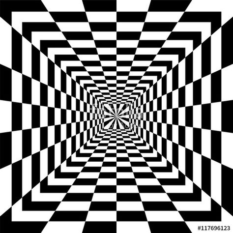 Vector: Vector Illustration. Black and White Rectangles Expanding from the Center. Optical Illusion of Perspective. Suitable for Web Design.