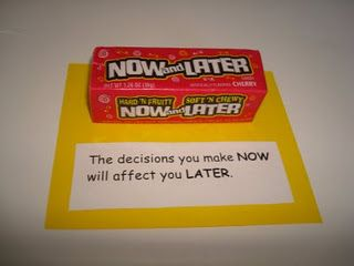 """For lesson on how current choices affect us in the future""-- I am not a fan of candy-based lessons, but I know they work and are cheap. If done sparingly, I guess I'm ok. This one is great for ""Begin with the End in Mind"""