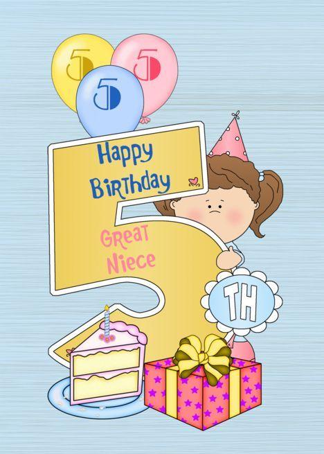 5th Birthday Great Niece Balloons Big 5 On Blue Card 5th
