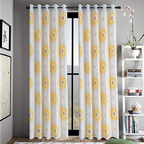Anady Top Yellow Flower Curtains For Living Room 2 Panel Bright