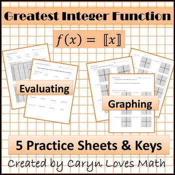 Step Function Greatest Integer Function Worksheet Graphing Evaluating Integers Step Function Graphing