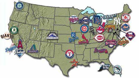 MLB Ballparks TOURING THE MAJORS Wall Map Poster All Stadiums - Us map of mlb teams