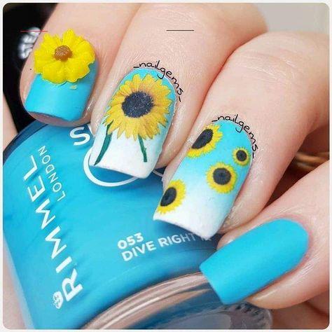 BY _NAILGEMS_ OF INSTAGRAM  #nailart #diynails #sunflowers #flowers #floralprint#floralnails#sun#summer#springnails#nailinspo#nailartideas#nails#naildesigns#nailpics#nailartboard#nailboards#naillins#funnails#beauty#nail#<br>