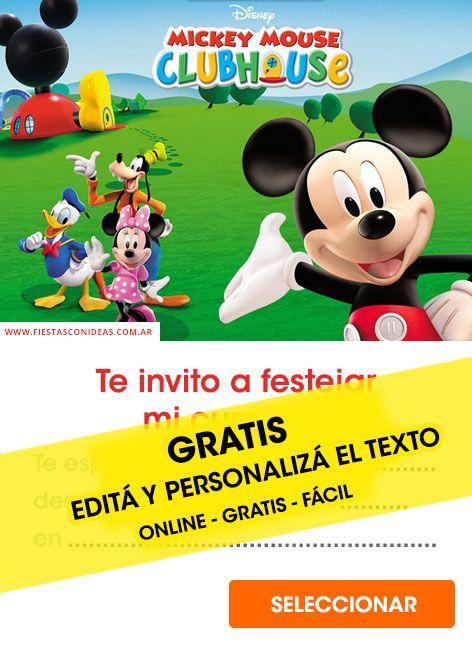 20 Invitaciones De Mickey Mouse Gratis Para Editar