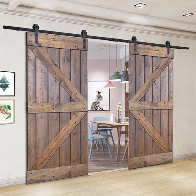 Akicon Paneled Wood And Metal Painted Barn Door With Installation Hardware Kit Size 76 X 84 Finish Briar Smoke Wood Barn Door Double Barn Doors Barn Door