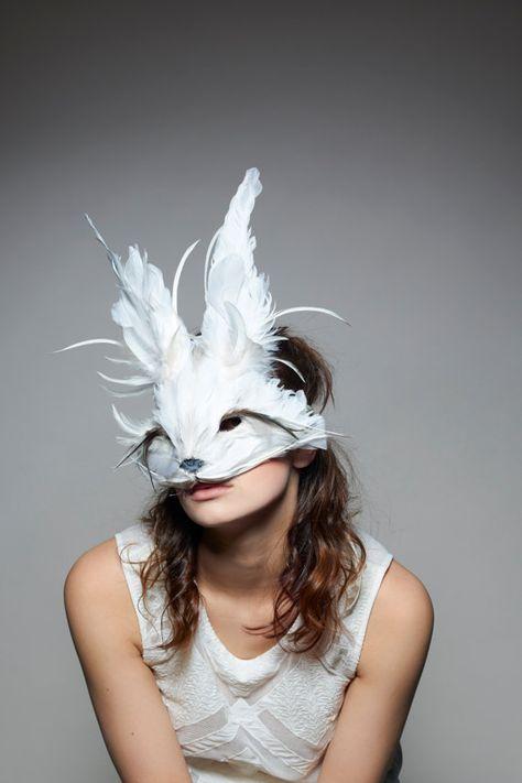 White Rabbit Mask White Rabbit Headdress Festival by CuriousFair