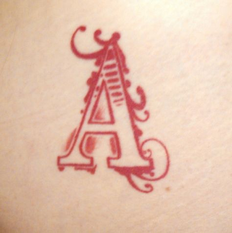 scarlet letter - tattoo artisit unknown | tattoo - lettering